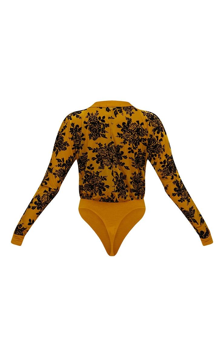 Mustard Floral Flock Mesh Plunge Thong Bodysuit 4