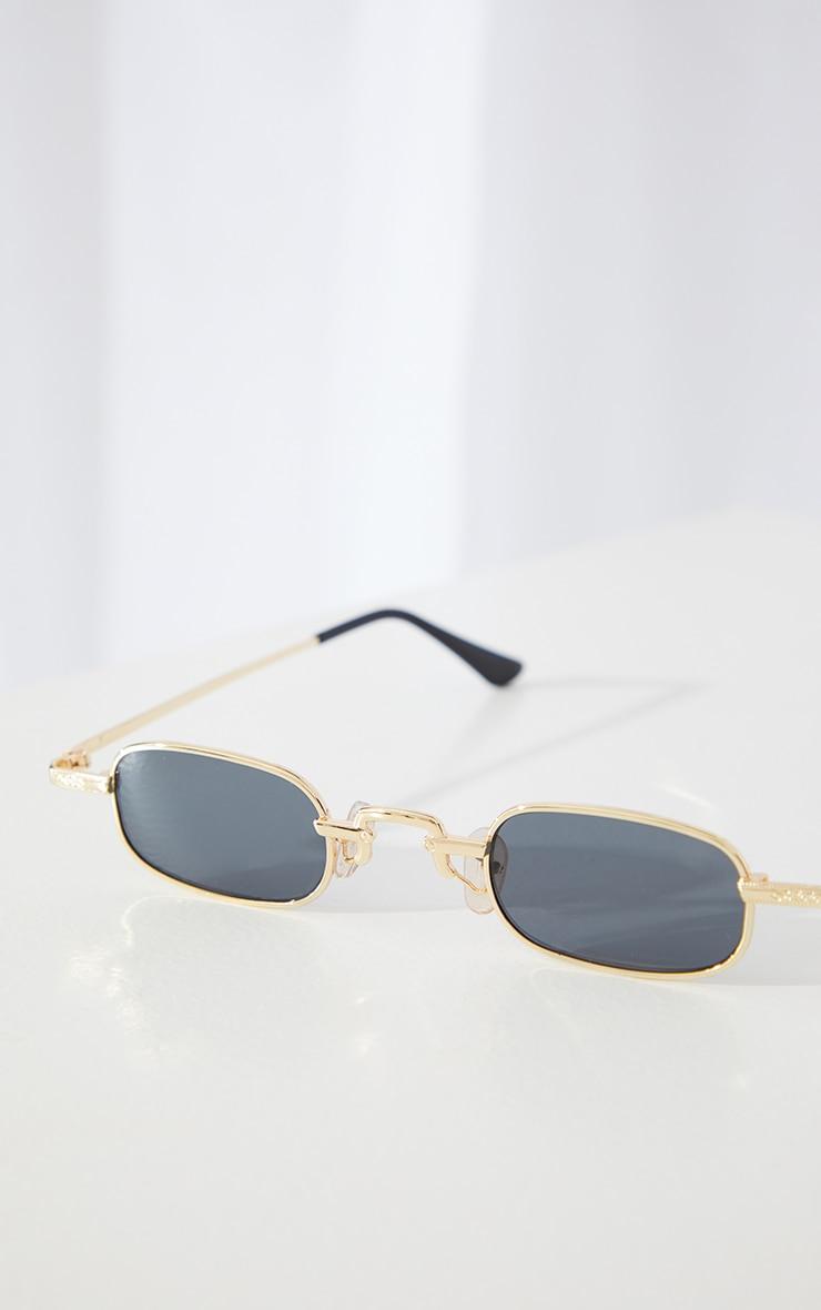 Gold Slim Square Lens Sunglasses 2