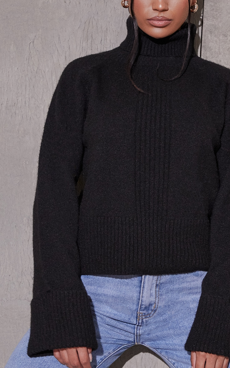 Black Deep Cuff Roll Neck Sweater 4