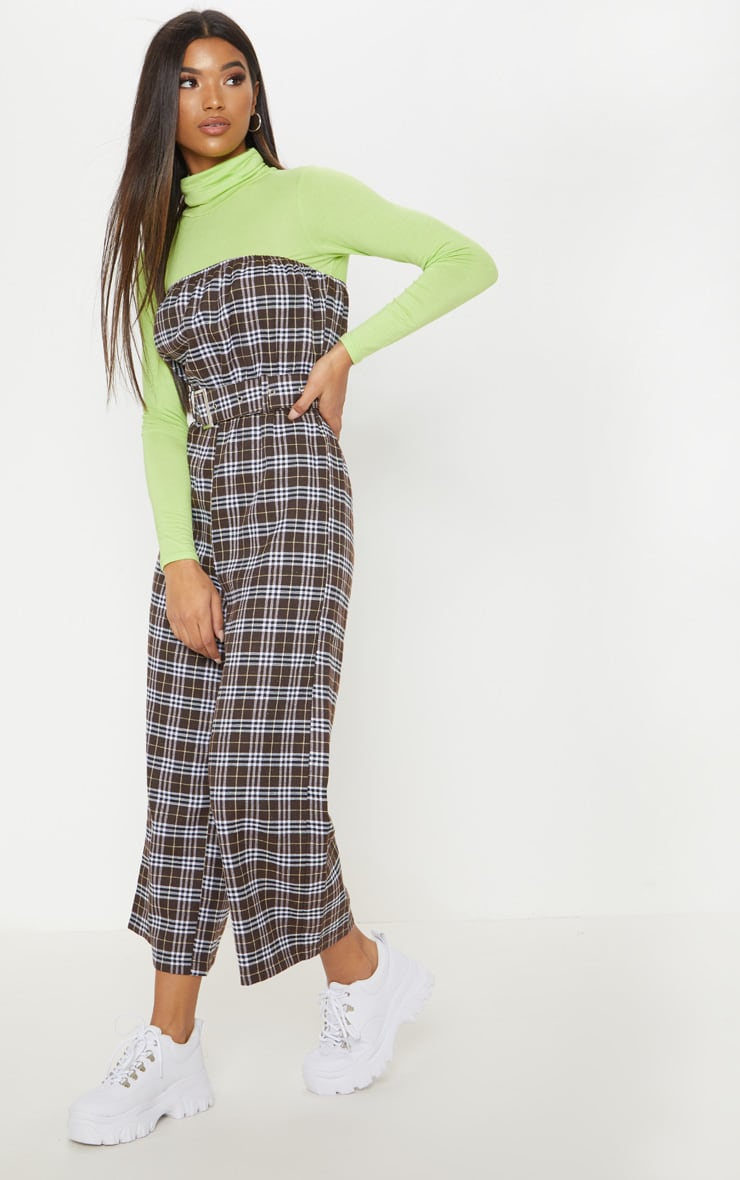 Chocolate Checked Belted Culotte Jumpsuit 4