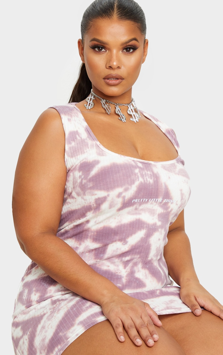 PRETTYLITTLETHING Plus Mauve Tie Dye Rib Bodycon Dress 4