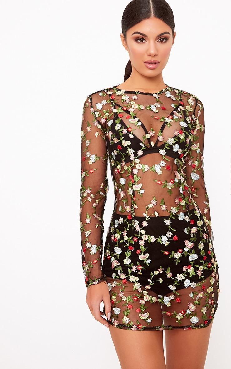 Marlie robe mini en dentelle transparente fleurie brodée noire 2