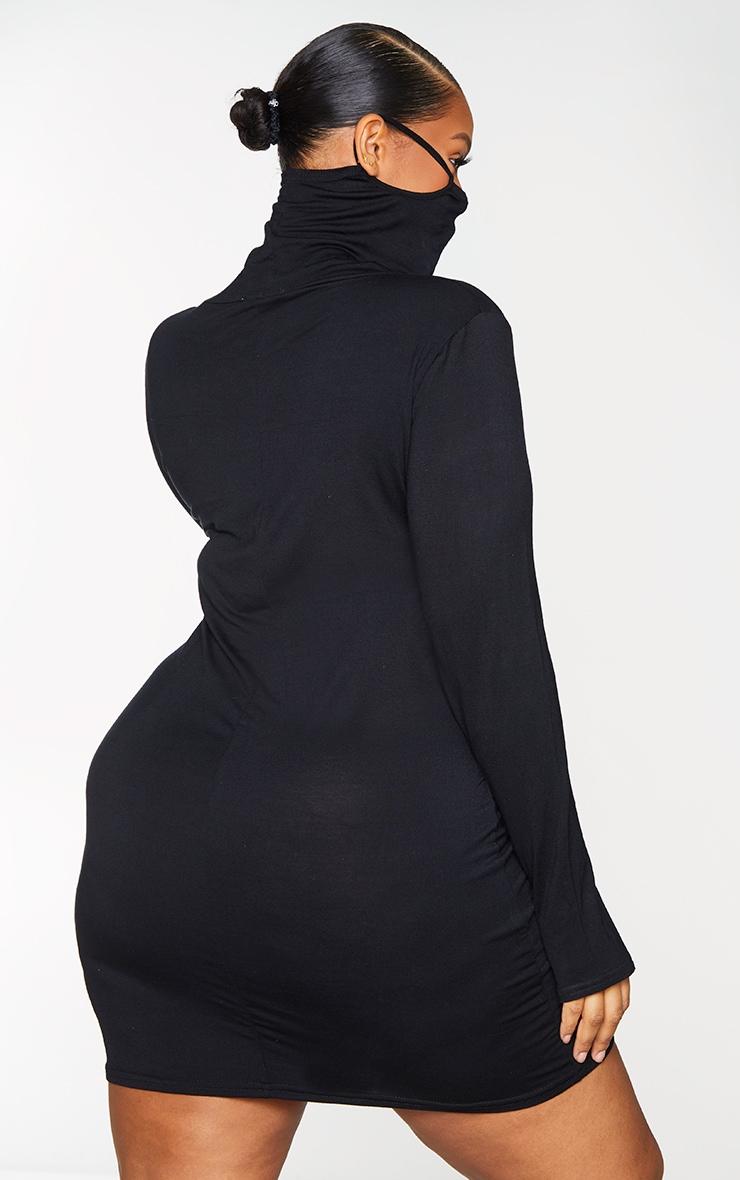 Plus Black Jersey Long Sleeve Mask Bodycon Dress 2