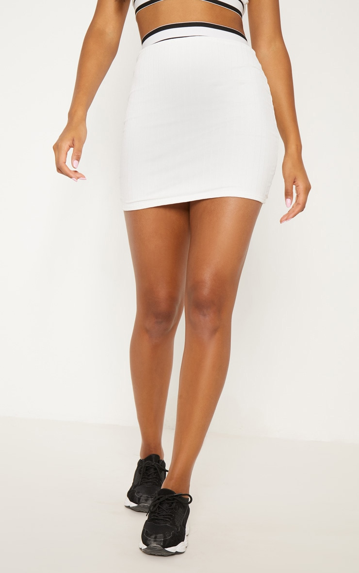 White Stripe Trim High Waisted Skirt 3