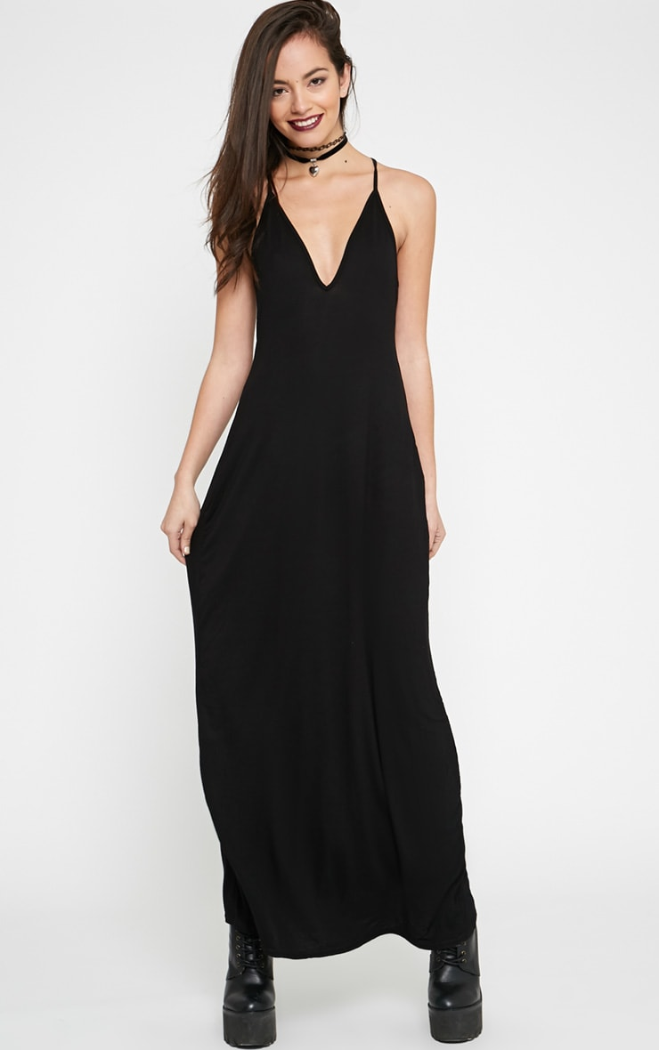 Annie Black Strappy Jersey Maxi Dress 1