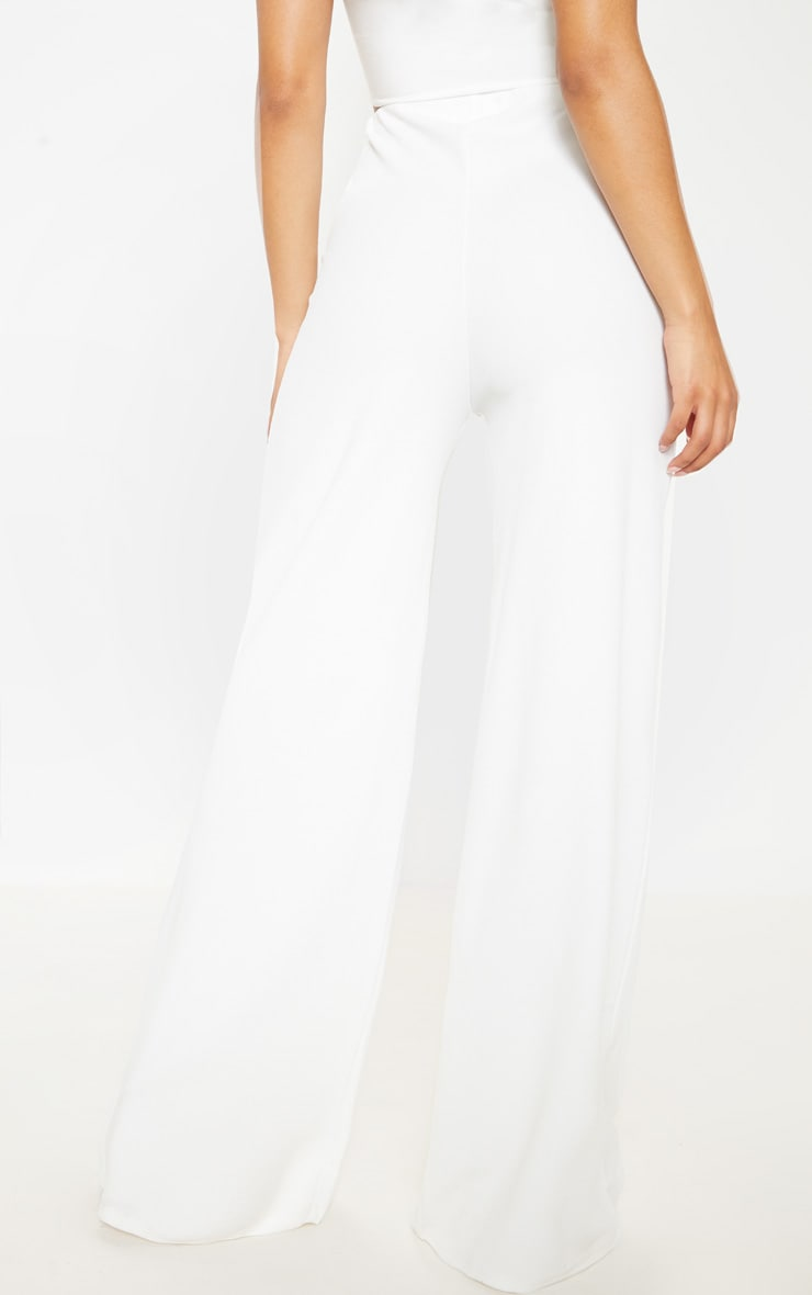 White High Waisted Wide Leg Trousers  5