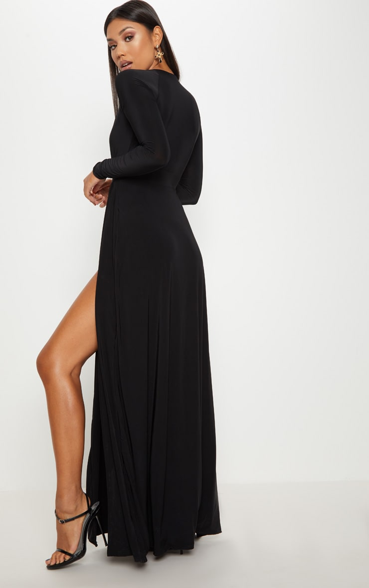 Black Plunge Extreme Split Leg Maxi Dress 2