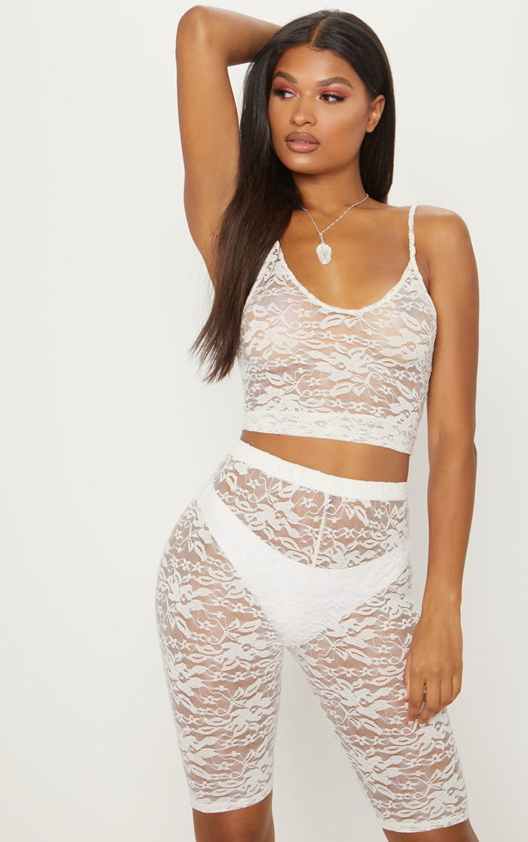 White Lace Scoop Neck Strappy Crop Top 1