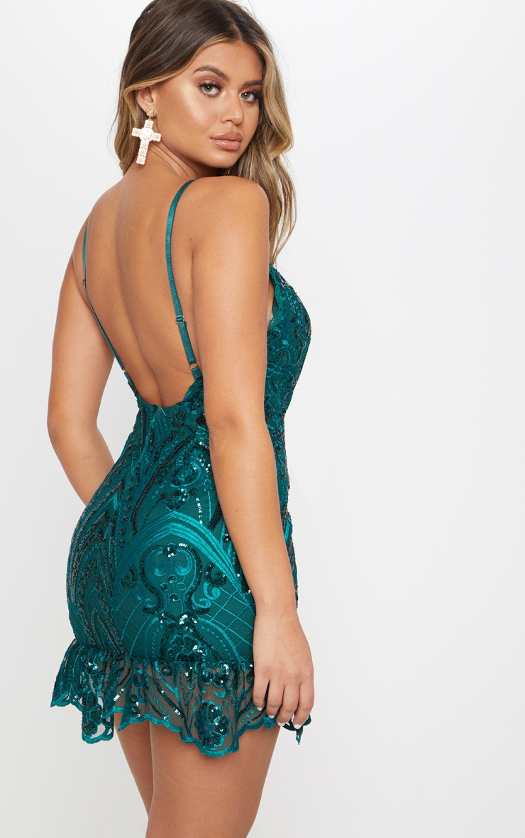 Emerald Green Sequin Lace Frill Hem Bodycon Dress 2
