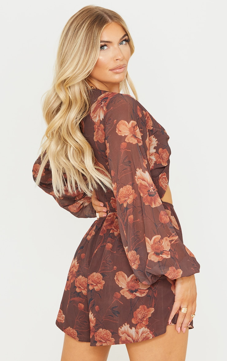 Chocolate Floral Print Knot Bust Long Sleeve Romper 2