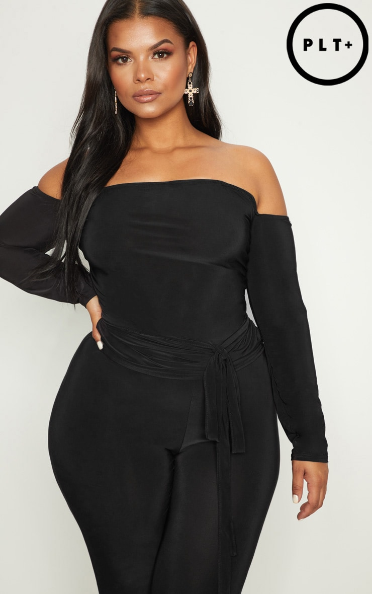 Plus Black Slinky Bardot Top 1
