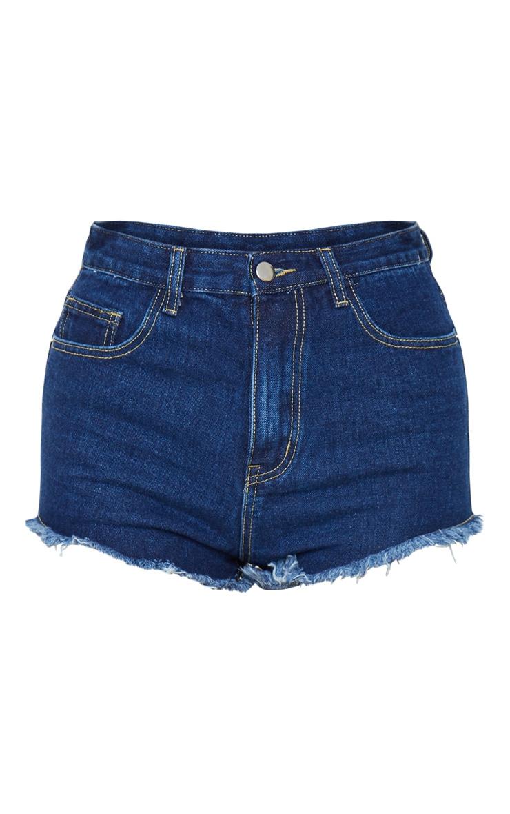 PRETTYLITTLETHING Dark Blue Wash Frayed Hem Denim Shorts 1