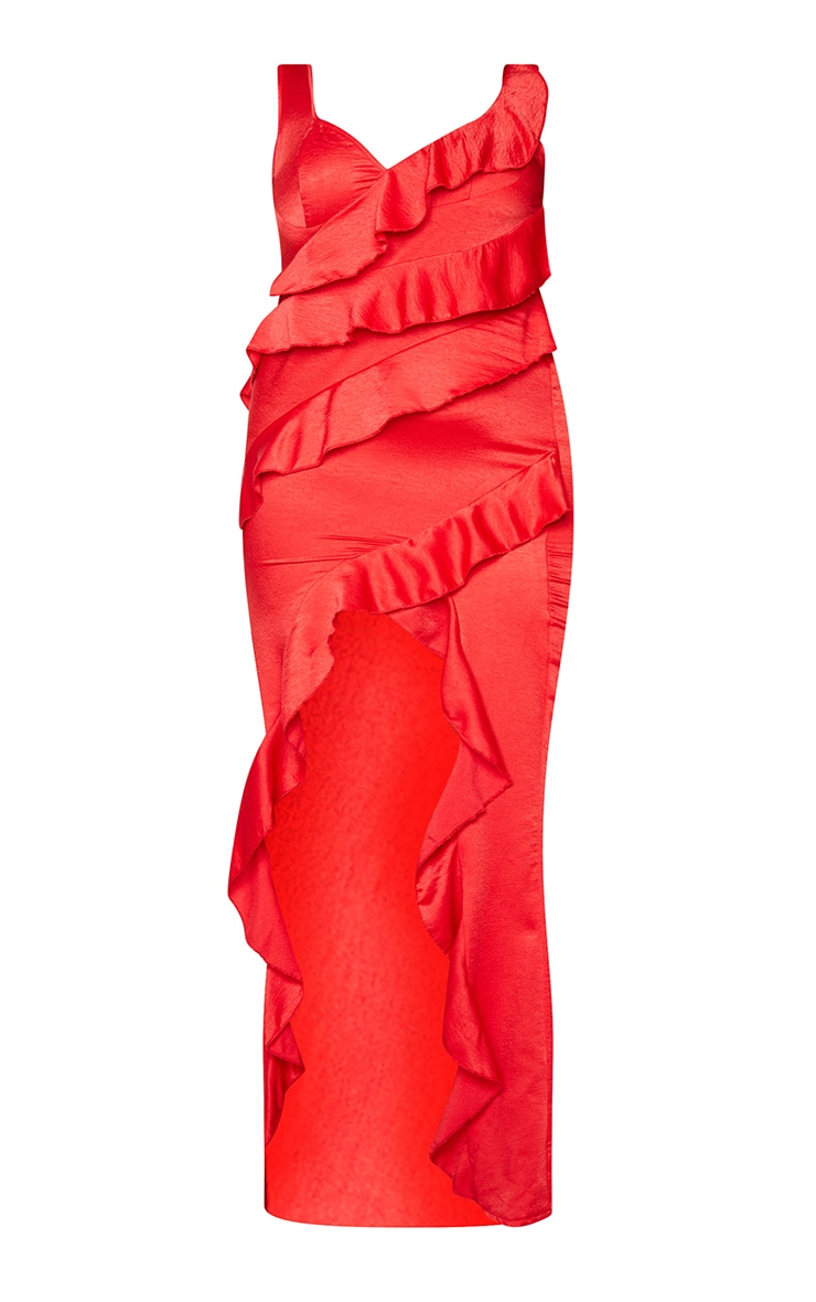 Plus Red Satin Frill Layered Midiaxi Dress 5