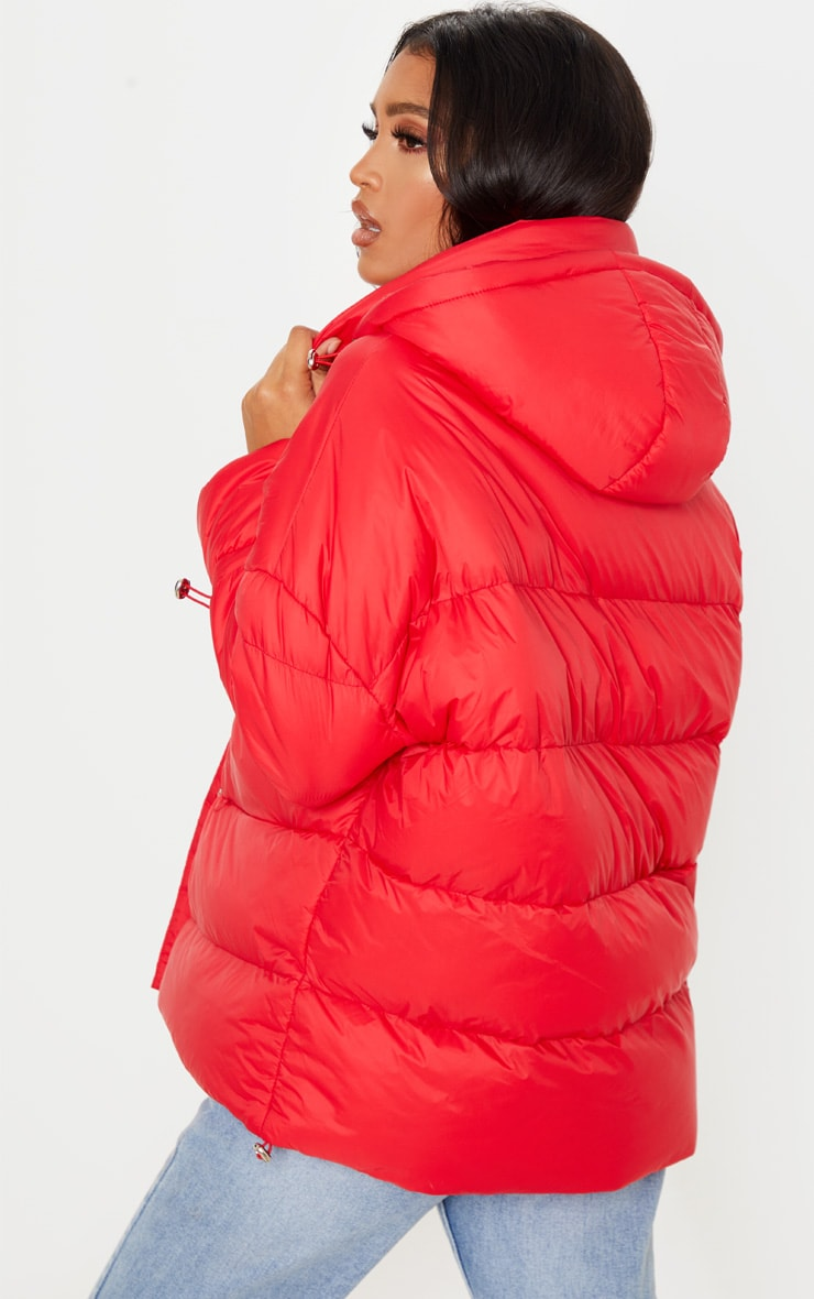 Bright Red Hooded Puffer Jacket 2