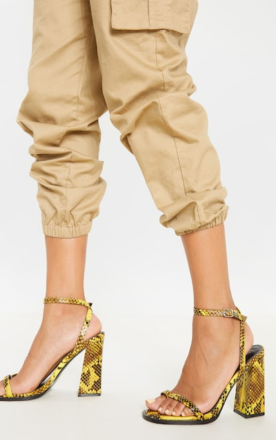 Yellow Snake Toe Loop Block Heel Stud Detail Sandal