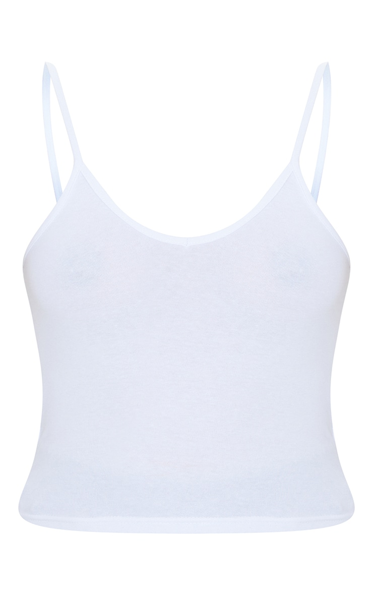 Basic White Cotton Blend Strap V Neck Vest 5
