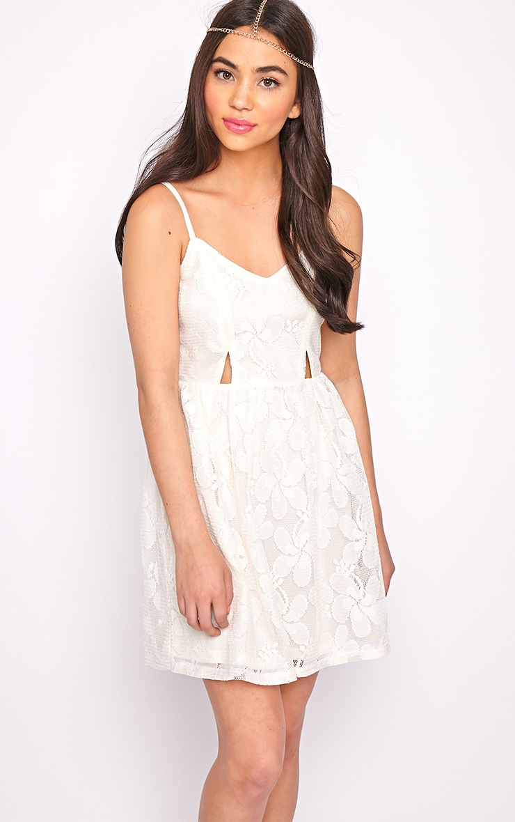 Lissy Cream Lace Skater Dress 1
