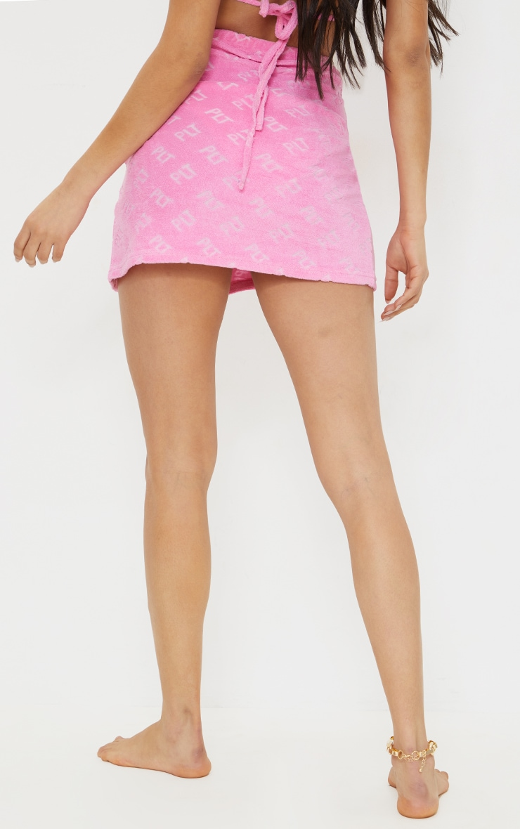PRETTYLITTLETHING Hot Pink Towelling Mini Skirt 4