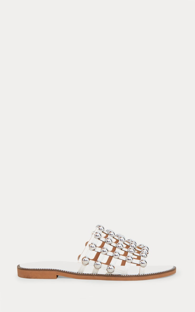 White Dome Studded Mule Sandal 3