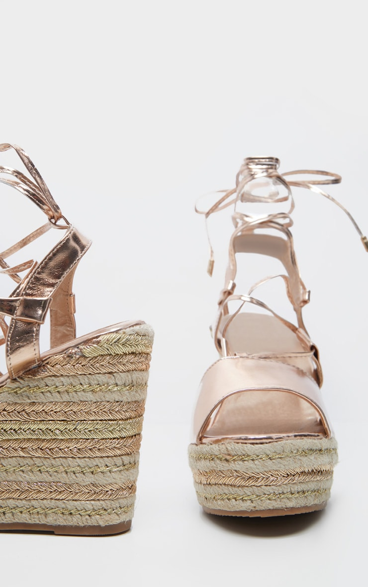 Rose Gold Ghillie Lace Up Espadrille Wedge Sandal 4