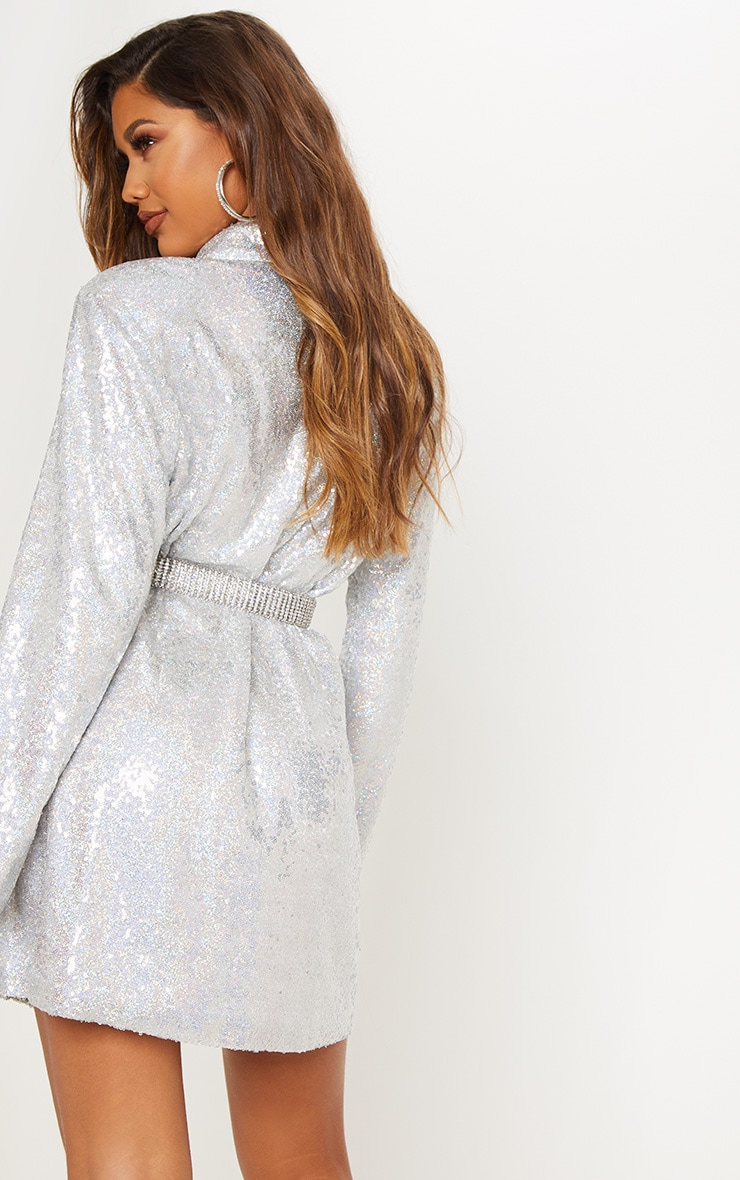 Silver Sequin Oversized Blazer Dress 4