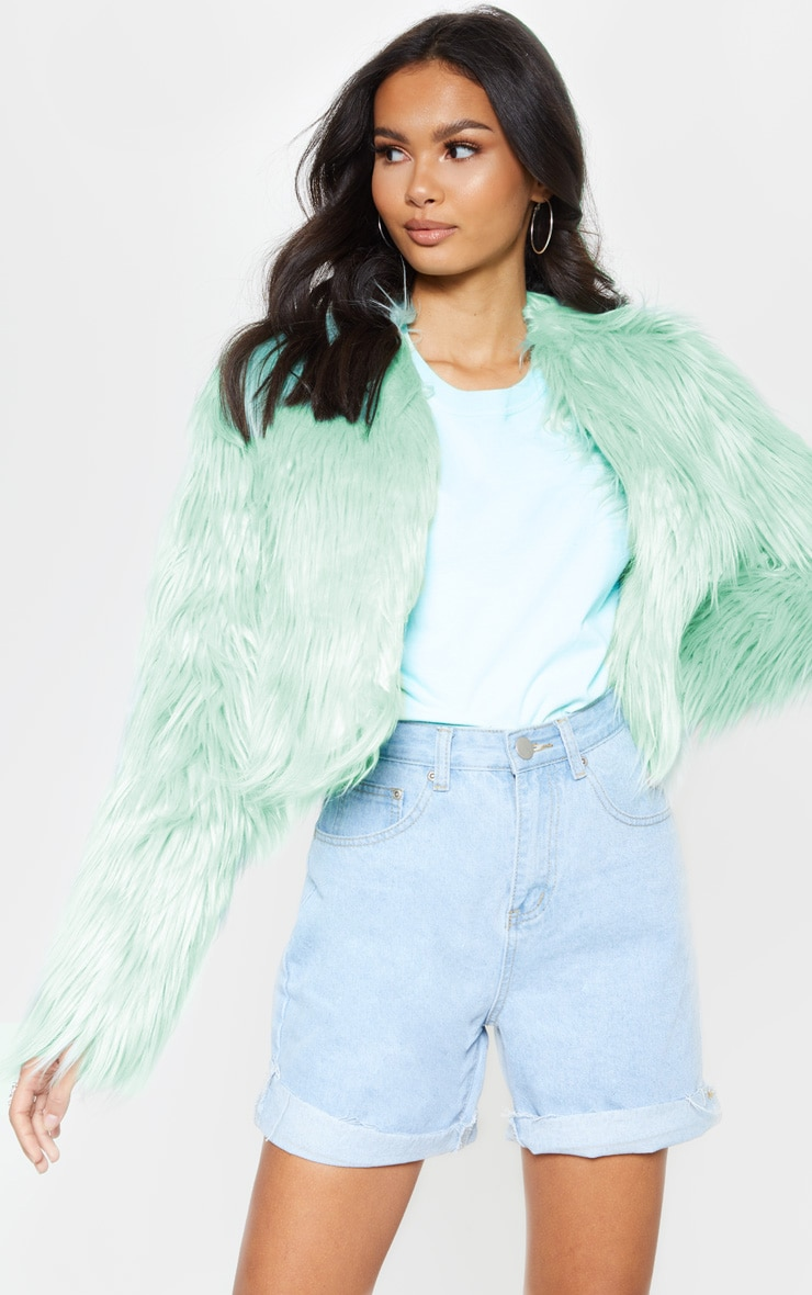 Sage Cropped Shaggy Faux Fur Jacket  4