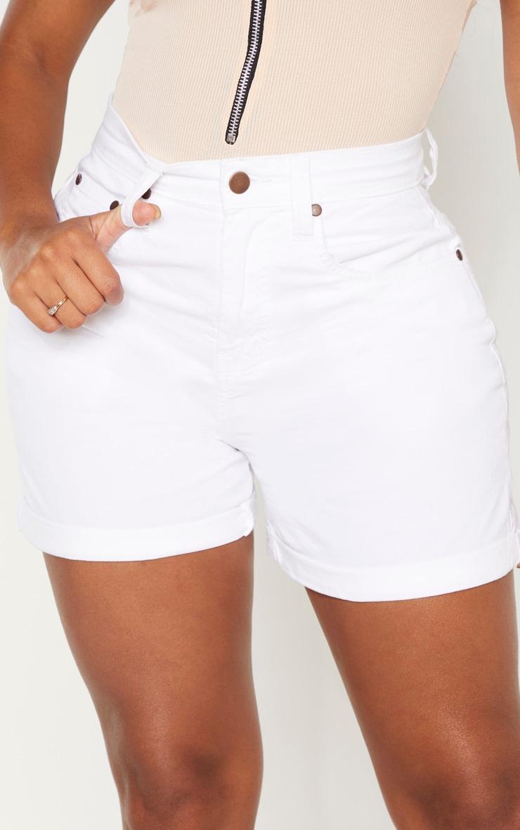 Shape White High Waist Fitted Denim Shorts 6