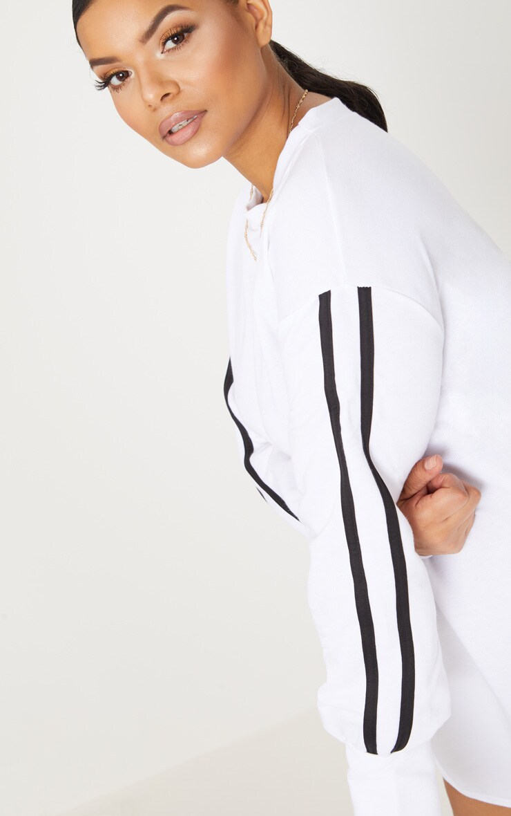 Plus White Sports Stripe Sweater Dress 5