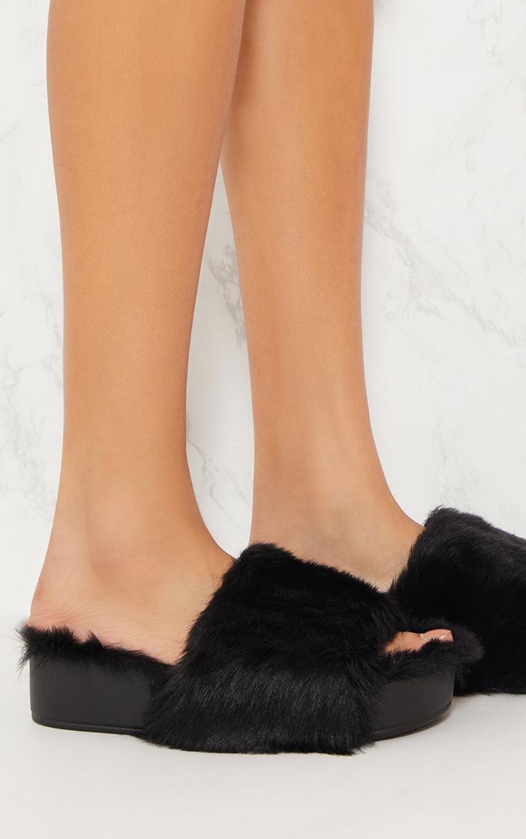 Black Faux Fur Flatform Slider 5