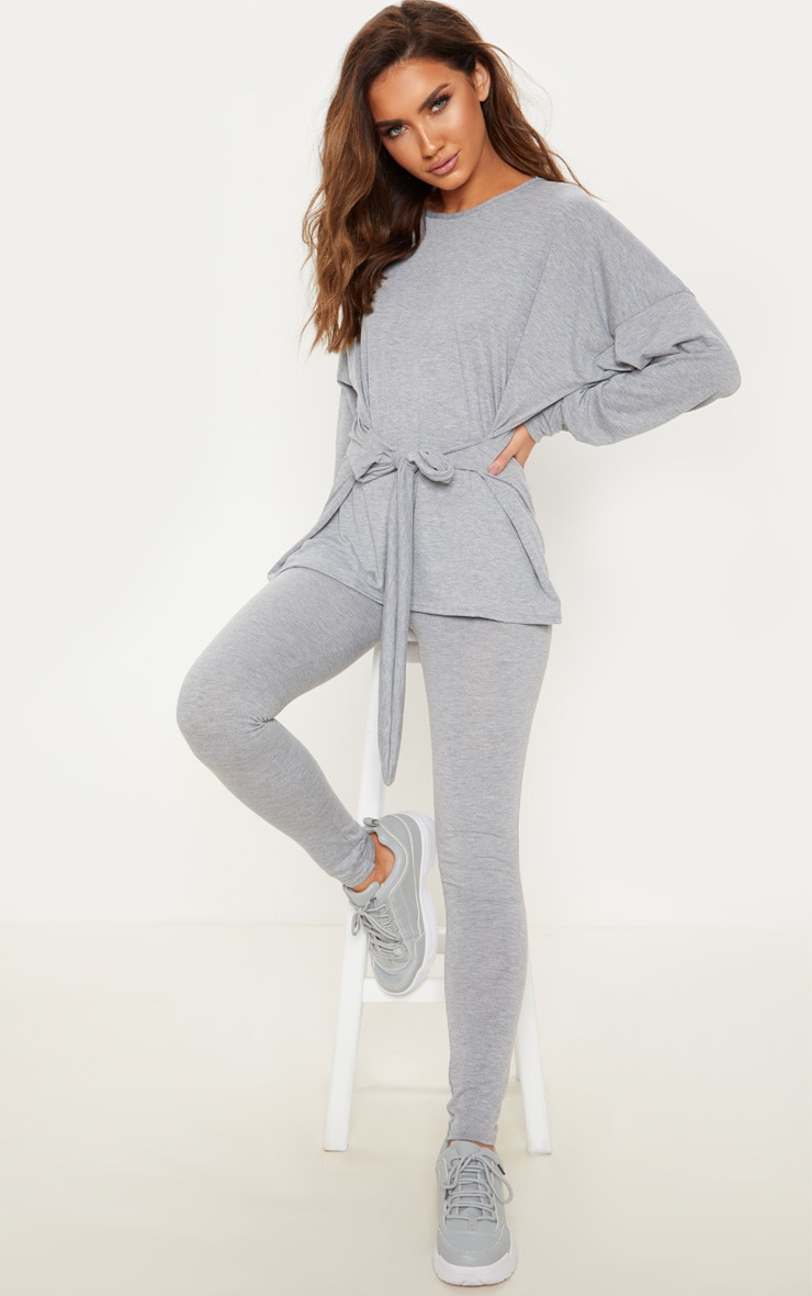 Grey Marl Long Sleeve Belted Top