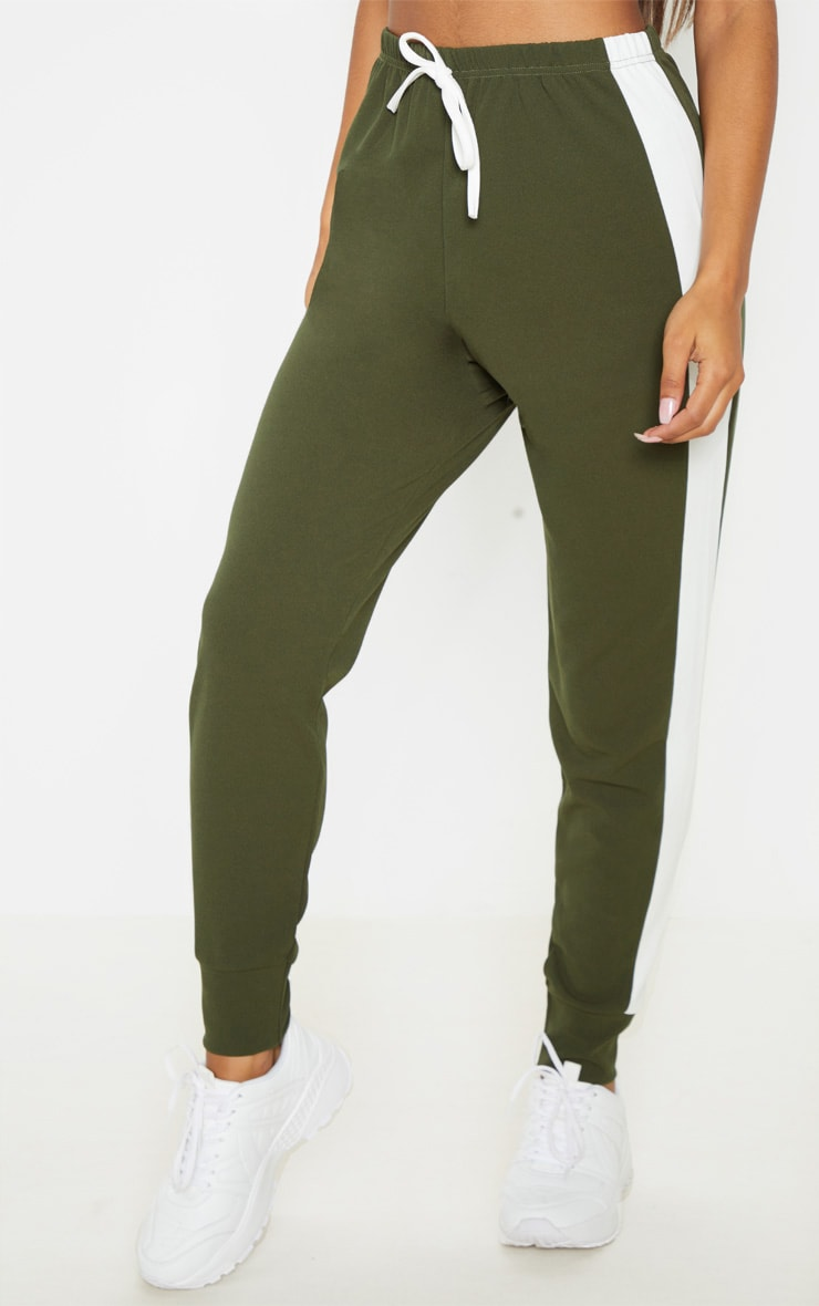Khaki Side Stripe Detail Jogger 2