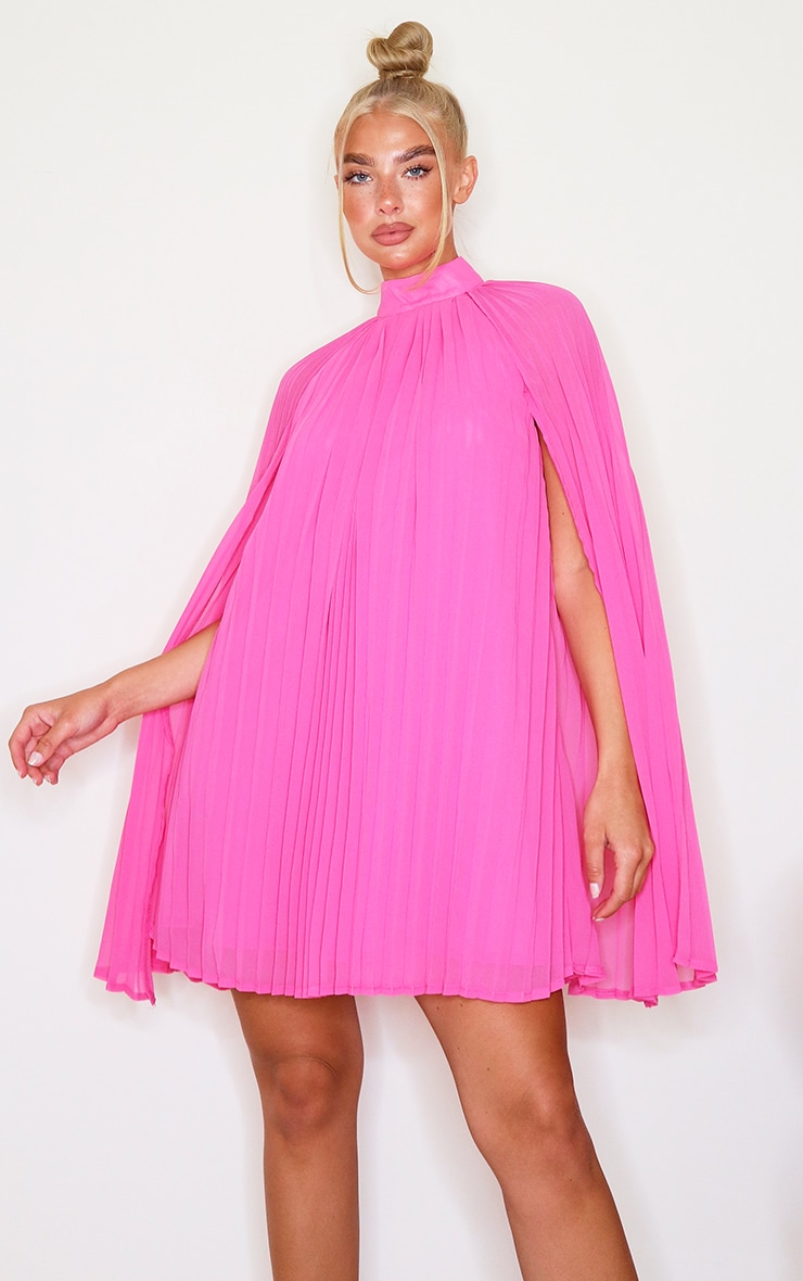 Bright Pink Pleated Cape High Neck Shift Dress 1