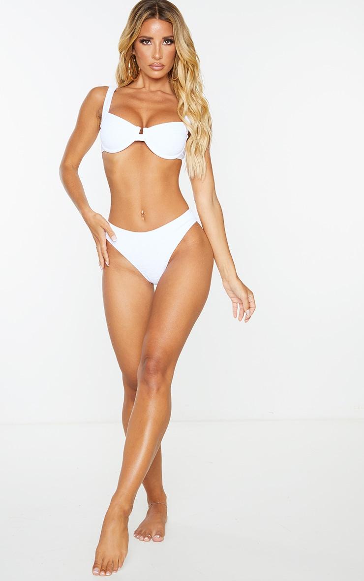 White Mini Crinkle Cheeky Bum Bikini Bottoms 3