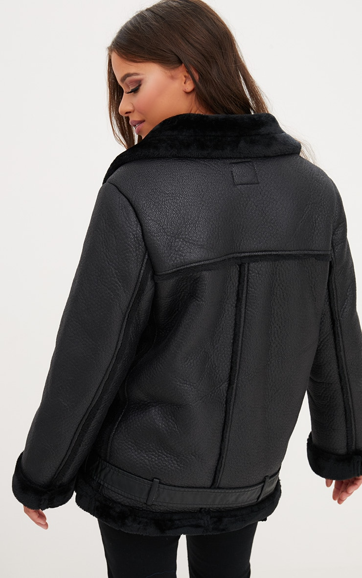 Black PU Aviator Jacket 2