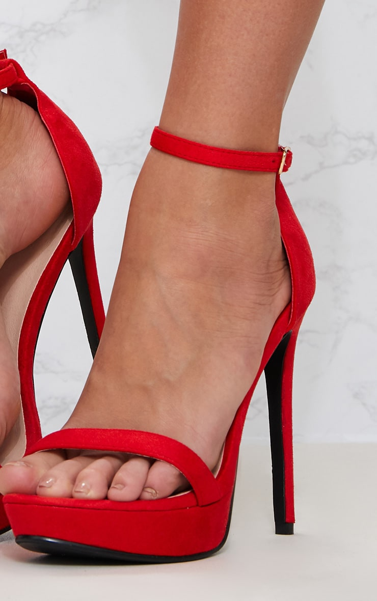 Red Platform Strap Heeled Sandal 5