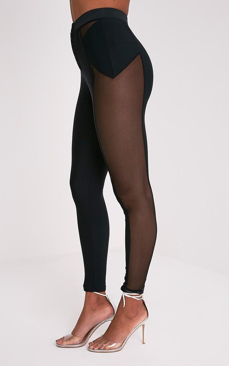 Safiya Black Hook And Eye Sheer Panelled Leggings 5