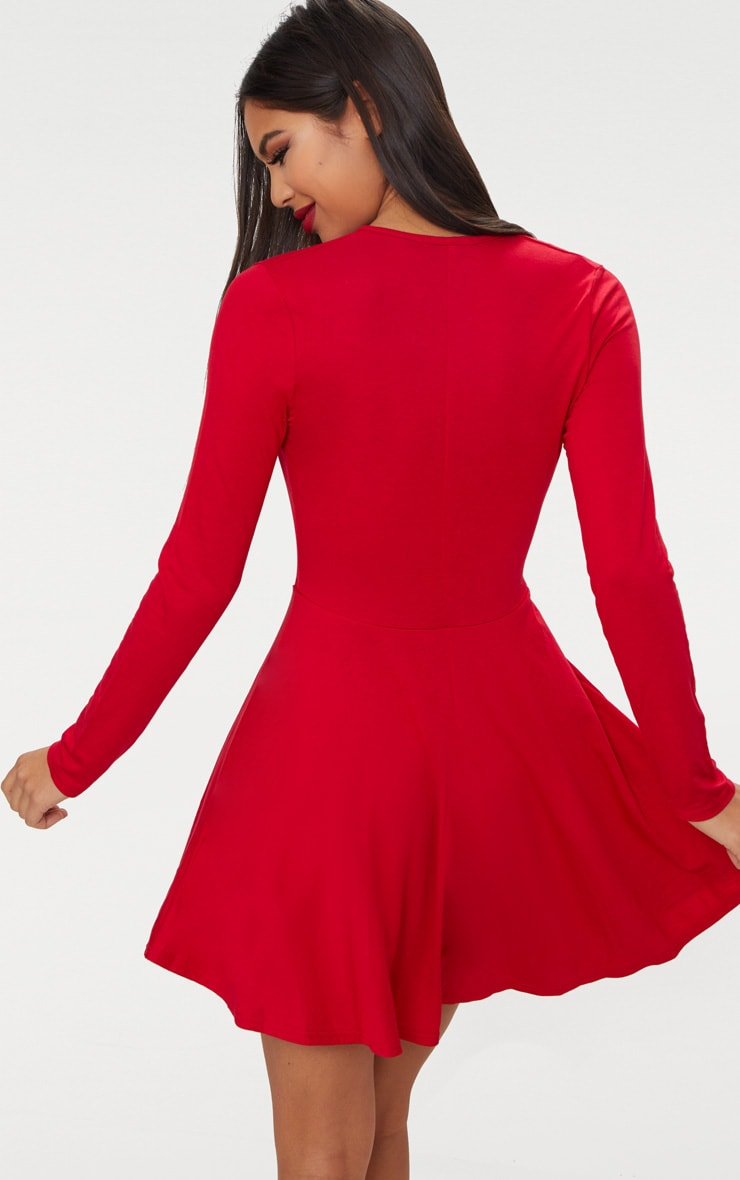 Red Jersey Wrap Long Sleeve Skater Dress 2