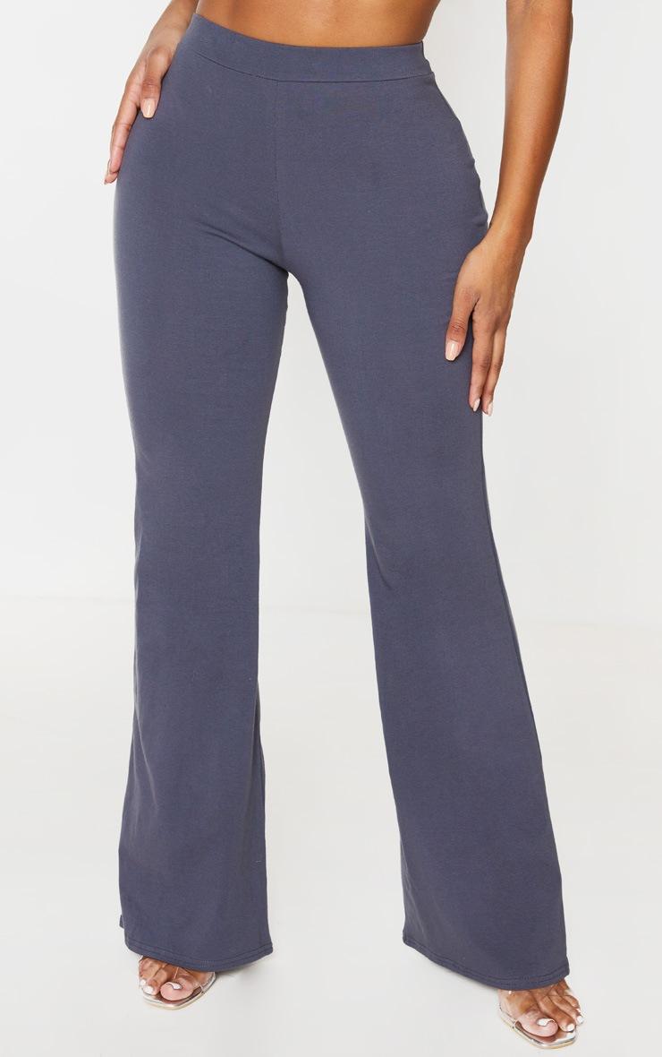 Shape Charcoal Cotton High Waist Flared Trouser 3