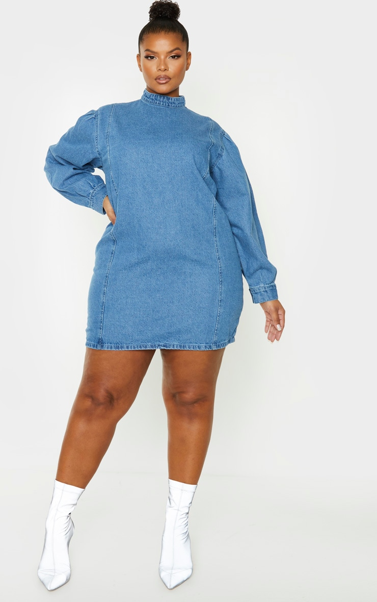 Plus Mid Blue Wash Denim Shift Style Dress 4