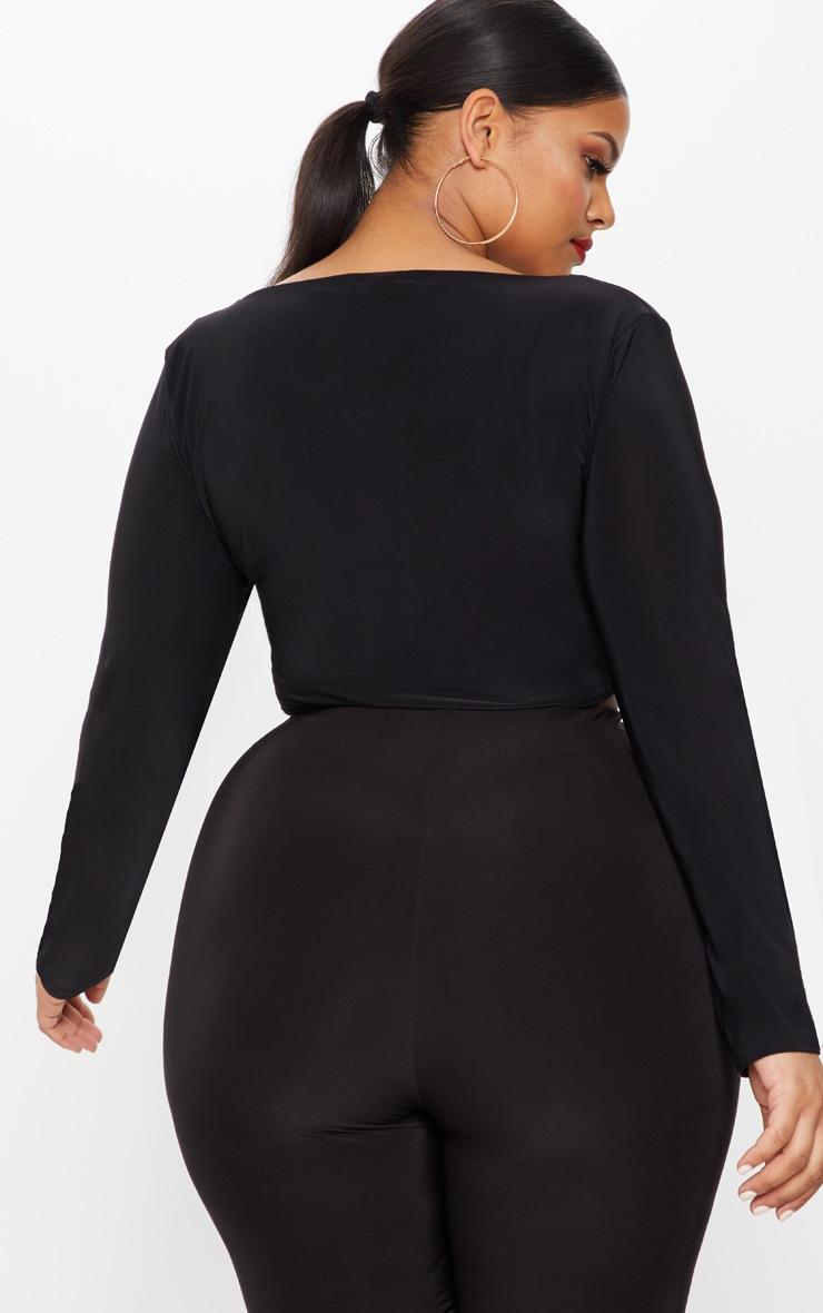 Plus Black Second Skin Long Sleeve Wide Neck Crop Top 2