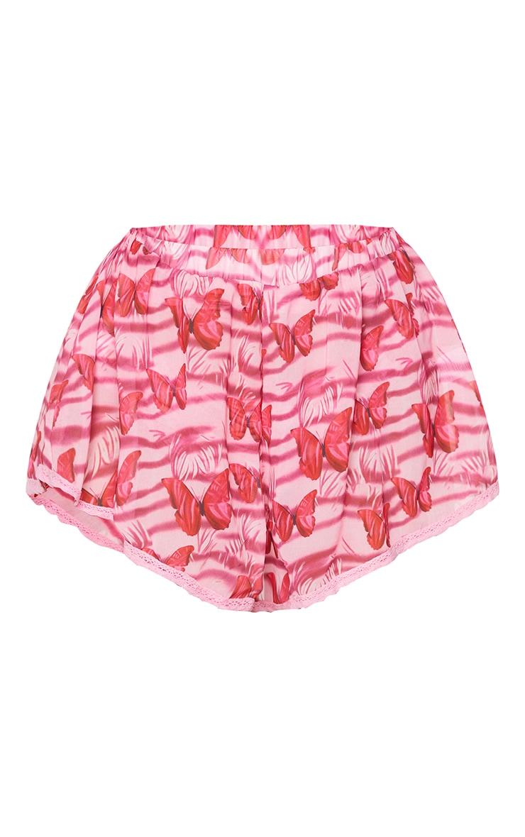 Pink Ditsy Butterfly Layered Crochet Trim Beach Shorts 6