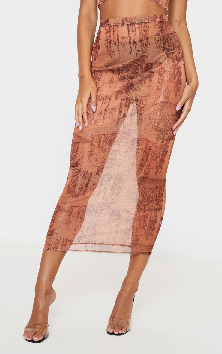 Rust Sketch Print Mesh Midaxi Skirt 2