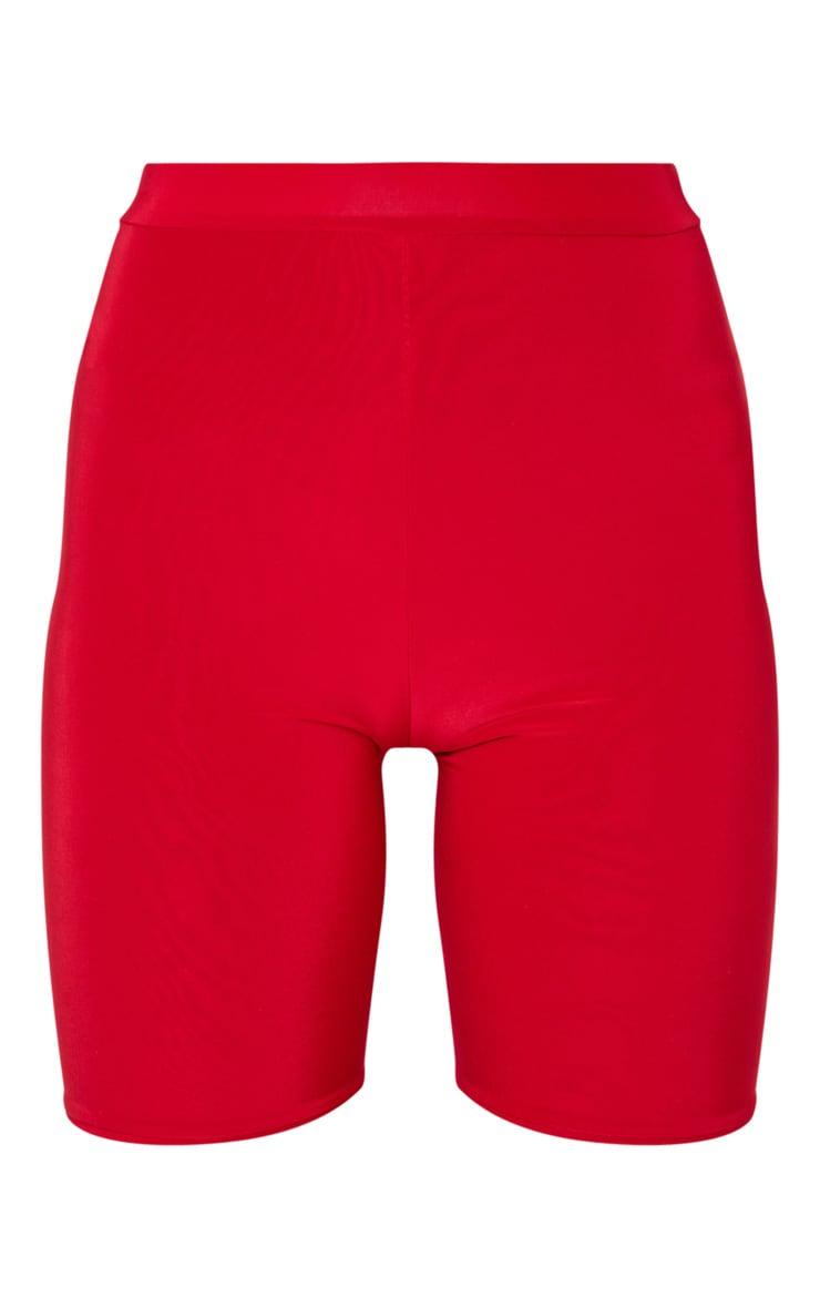 Bella Red Slinky High Waisted Bike Shorts 3