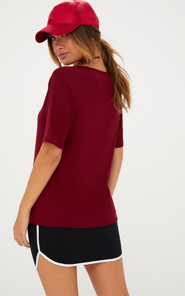 Basic Burgundy V Neck T Shirt 2