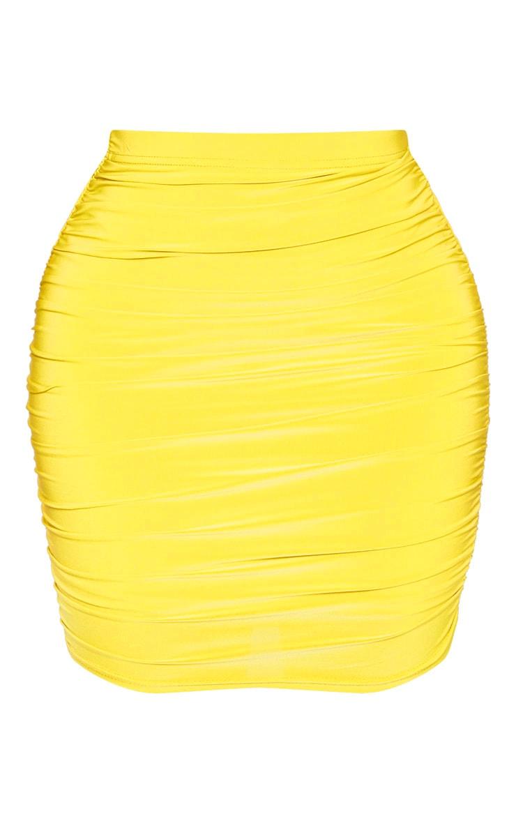Shape - Jupe moulante chartreuse à effet froncé 3
