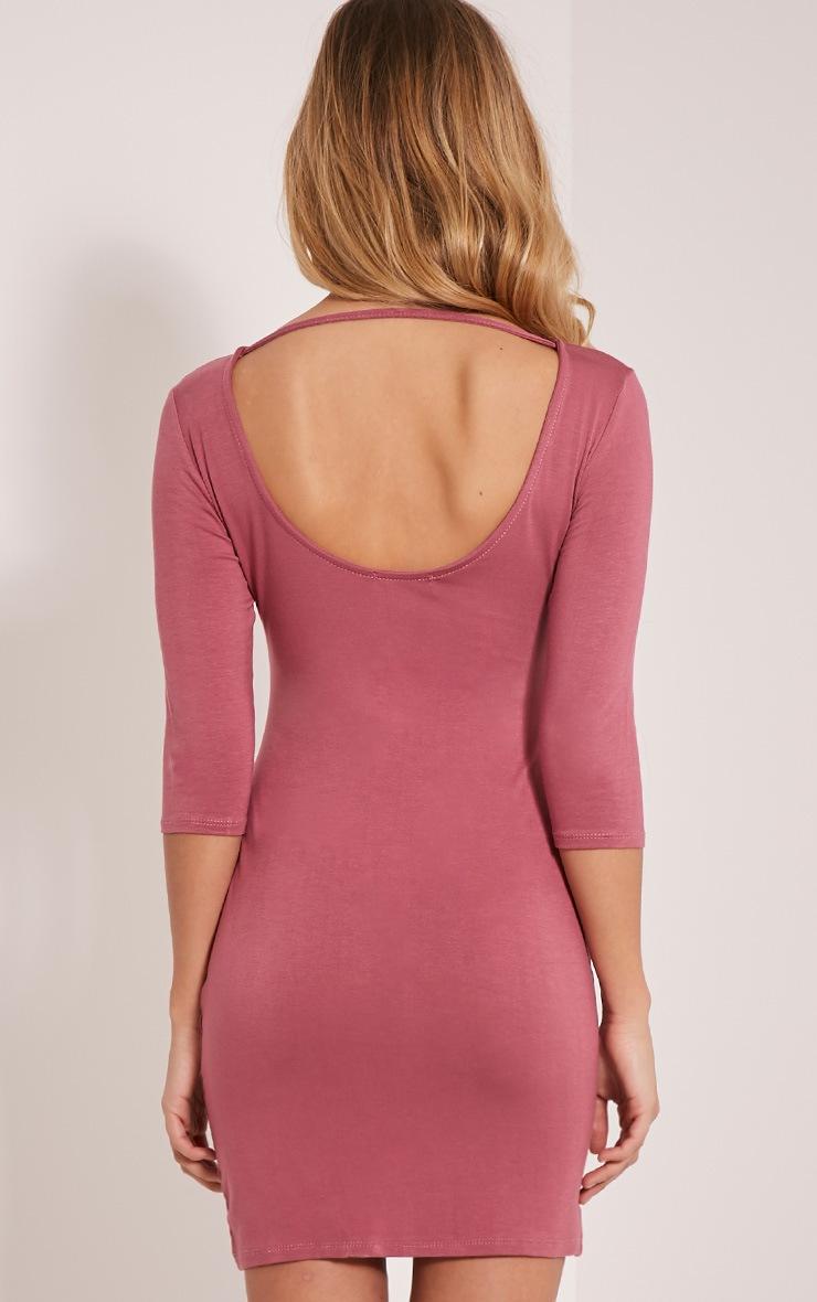 Basic Rose Scoop Back V Hem Dress 2