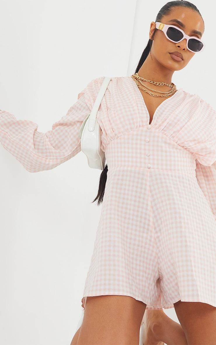 Pink Gingham Ruched Shoulder Button Front Playsuit 4