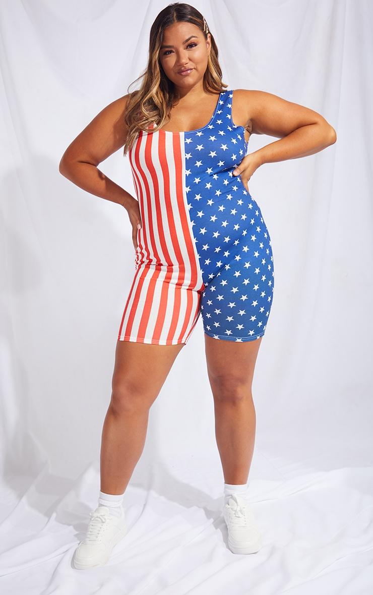Plus Multi American Flag Unitard 3
