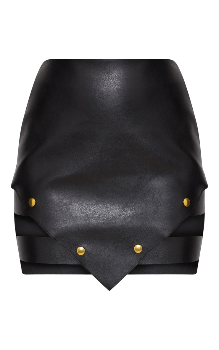 Black Faux Leather Pointed Hem Mini Skirt 3