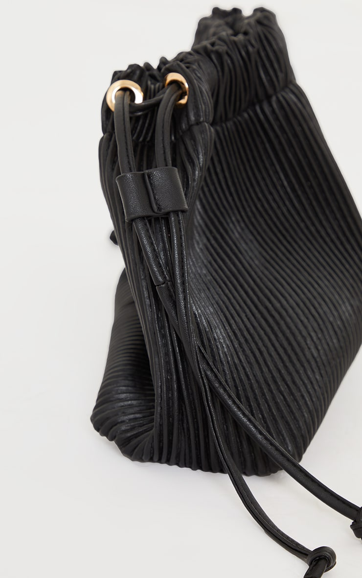 Black Oversized Pleated Clutch Bag 3